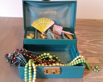 Vintage Jewelry Box with Jewelry for Little Girls Dress Up, Dress Up Jewelry, Vintage Necklaces and Earrings, Surprise Box