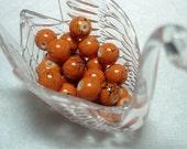 Orange Black Splashed Glass Round Beads (Qty 26) - B2873