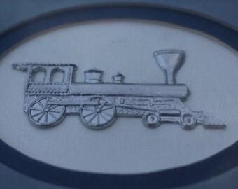 Silver Locomotive Reed Pewter Framed