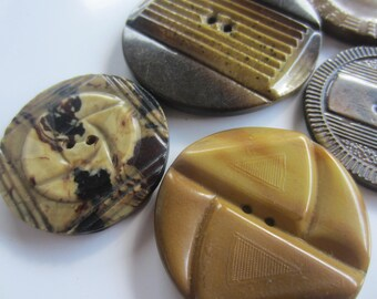 Vintage Buttons - brown wafer styles, extra large buttons, lot of 5 (july 840  )