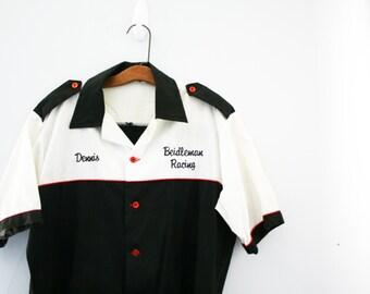 vintage 80s Race Car Driver Black & White Mens Shirt Halloween Costume M L