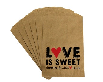 Wedding Favor Candy Bags - Antique Victorian Rustic Cottage Chic Rustic - Love is Sweet - Wedding Kraft Candy Buffet Treat Bags