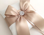 Champagne Ring Bearer Pillow - Satin Wedding Ring Bearer Pillow
