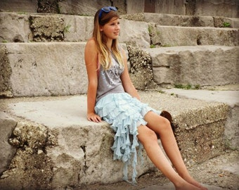 Dreams Quote Sea Fairy Festival Dress// Upcycled Raw and Tattered// Pale Blue Gray White// Small// emmevielle