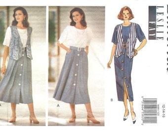 Butterick 6689 Misses' or Misses' Petite Vest, Dress, Belt by Leslie Fay - Vintage PATTERN - Sizes 12, 14, 16