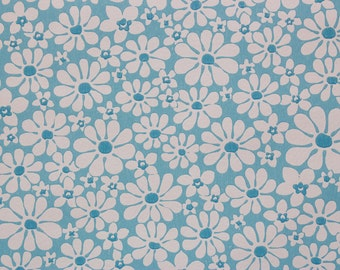 1960s Vintage Wallpaper Retro White Daisies on Blue by the Yard