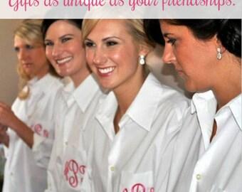 Bridesmaids Gifts Monogrammed Shirt Oversized Button Down Mens dress shirt