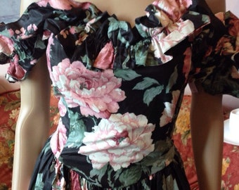 Vintage 80s does 1950s Style Dress...Black with Pink Cabbage Roses...Full Skirt...Fits L