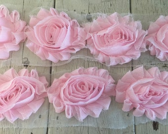 NEW-Chiffon Shabby  Rose Trim in BABY  PINK -2 1/2 inches-1 yard piece