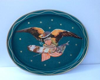 VTG Teal Eagle Tray // Aluminum // Patriotic // American Flag // Stars