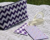 Gift Set -  Purple - Cosmetic Pouch - Luggage Tag