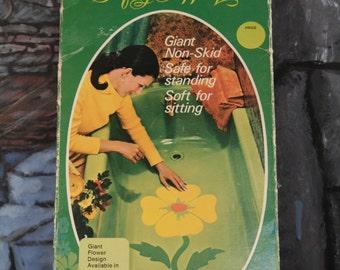 Vintage Rotex Mod Flower Design Safety Tub Appliques Yellow Green Orange Large Size non skid bathroom wall decor