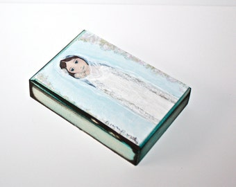 Mother with Newborn - Aceo print mounted on Wood (2.5 x 3.5) Folk Art  by FLOR LARIOS