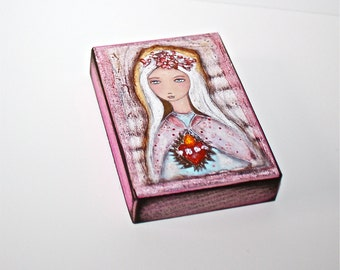 Sacred Love - Immaculate Heart of Mary - Aceo print mounted on Wood (2.5 x 3.5) Folk Art  by FLOR LARIOS