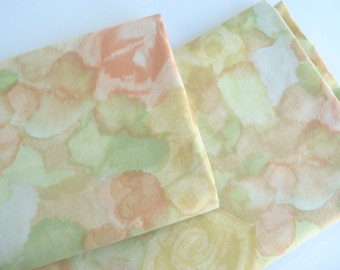 Trio of flowery cotton - subtle watercolored florals  - citrus tones
