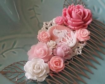 Pink Unicorn Cluster Hair Comb - Fascinator Kitschy Cool Offbeat Wedding Bride Fantasy Fae Fairy