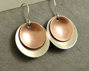 Mixed Metal Disc Earrings, Domed Dangle Earrings,Sterling Silver Copper Earrings. Disc Earrings, Eco Friendly Jewelry Gifts for Her