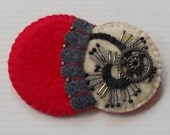 Felt Pin - Contemporary Art Flower and Leaves, Cherry Red, Black, Winter White,  Accessory Felt Brooch