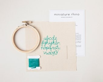 Mini Alphabet Embroidery Kit - Turquoise