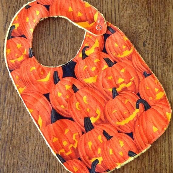Halloween Jack-O-Lantern Minkie Baby/Toddler Bib