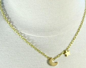 Gold Moon and Star Chain Necklace, Gold Chain Pendant Necklace, Moon and Star Charm Necklace