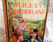 Vintage Alice's Adventures in Wonderland Book by Lewis Carroll, Illustrated by AE Jackson, Printed in USA