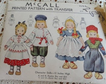 Vintage McCall Doll 1144 Clothing Pattern, Complete, Unused, Dutch and Russian Dolls