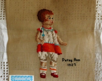 TWO Vintage Brunswick Needlework Canvases, Patsy Anne and Chase, Dated 1920s, Virgin Wool