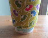 Handmade Coffee Cozy or Sleeve in Green, Pink, Blue,and Green Flower Buds, Coffee Sleeve, Cup Sleeve