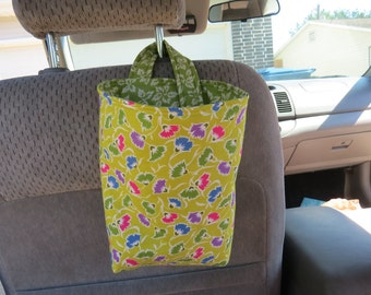 Trash Bin, Car Trash Bag, Cute Car Accessories, Headrest Bag, Trash Container, Flower Buds on Green