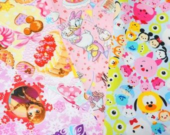 Disney licensed  fabric Disney fabric scrap Anna Elsa Minnie mouse sweets Disney tsum tsum Printed in Japan ©Disney