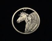 BRAND NEW - Sacajawea Dollar - Cut Coin Jewelry - w Native American Chief in full Head Dress and Horse  - 2012 - 1st CUT