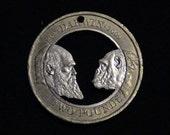 Charles Darwin - cut coin jewelry - 2009 - Great Britain - Chimpanzee - MY FAVORITE
