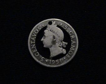 DOMINICAN REPUBLIC - cut coin pendant - Native - 1951