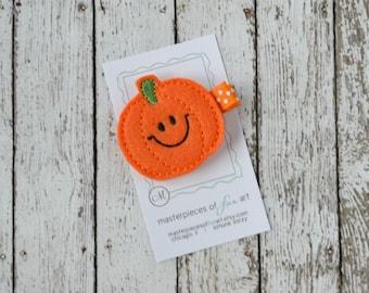 Smiley Orange Pumpkin Felt Hair Clip - Cute Halloween Clippies - Fall and Autumn Hair Bows - Thanksgiving Hair Clips