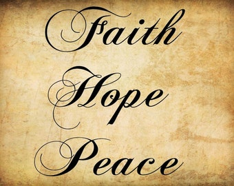 Wall Decal Quote Faith, Hope, Peace Wall Decals    Make GREAT gifts  Wall stickers