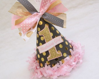 BACK IN STOCK! - Black, Gold, and Pink Birthday Party Hat - Glam Polka Dot, Chevron, Winter Wonderland, Princess, Fairy Party