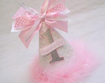 Pink and Silver Sparkly Birthday Party Hat - Winter Wonderland, Winter Onederland, Frozen Party, Snowflake party, Glitter Chevron