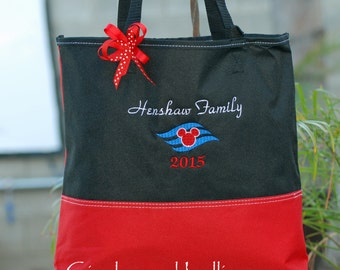 Personalized Disney cruise minnie mickey tote bag anniversary wedding tote
