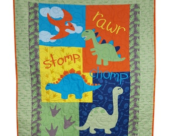 Baby Quilt in Bright Dinosaur Prints