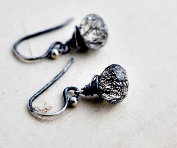 Chaos Theory Drop Earrings Tourmalinated Quartz Sterling Silver Dangle PoleStar