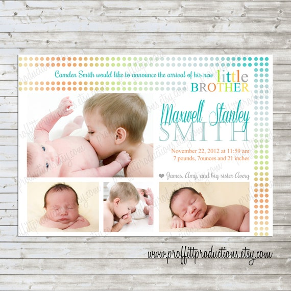 Ombre Big Brother or Big Sister Custom photo birth announcement card - digital file