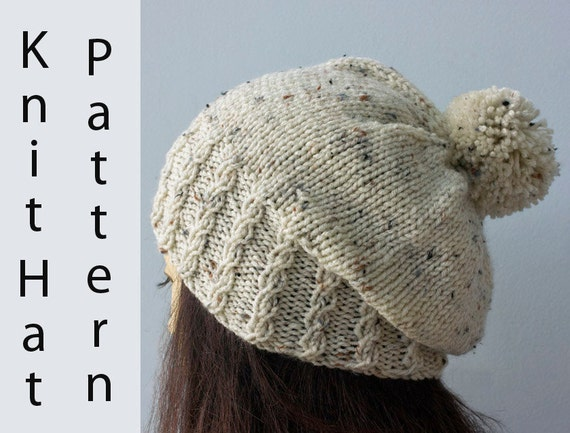 Pom Pom Beanie Knitting Pattern Knit Hat Pattern Mock Cable