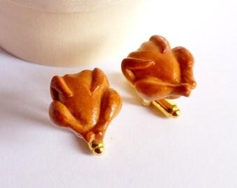 Oktoberfest Spring Chicken Cufflinks - Roast Chicken I'm not Turkey - Miniature Food Art Jewelry - 100% Handmade by Schickie Mickie