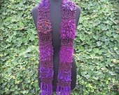 Knitted plum-colored scarf in acrylic yarns (sku#08-L)