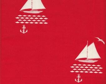 Birch Fabrics Organic Set Sail Sailboats and Anchors in Red - Half Yard