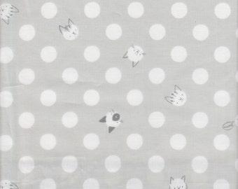Clothworks Organic Here Kitty Kitty Dot in Gray - Half Yard