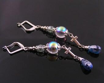 Cross Earrings, Long Czech Bead Earrings in Blue and Silver, Blue Earrings, Beaded Earrings, Long Earrings, In Line Cross Earrings