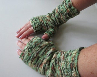 Hand Knit Women's Fingerless Mittens One of a Kind Unisex Green Camouflage