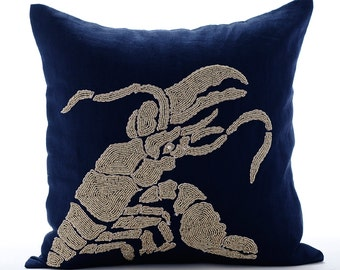 Navy Blue Decorative Pillow Covers 20x20 Sofa Pillows Embroidered Linen Throw Pillows Cover - Lobster At The Shore